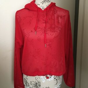 Forever 21 Red Active Sheer Mesh Hoodie